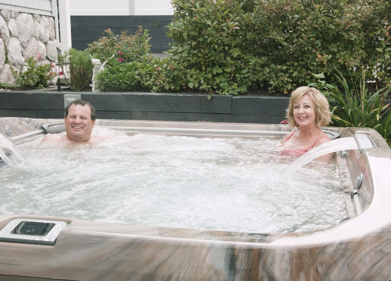 Mike enjoying his hot tub