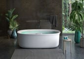 ARGA™ 6934 Freestanding Swirlpool™ Center Drain Bath with Illumatherapy™ Whisper+ White Gloss