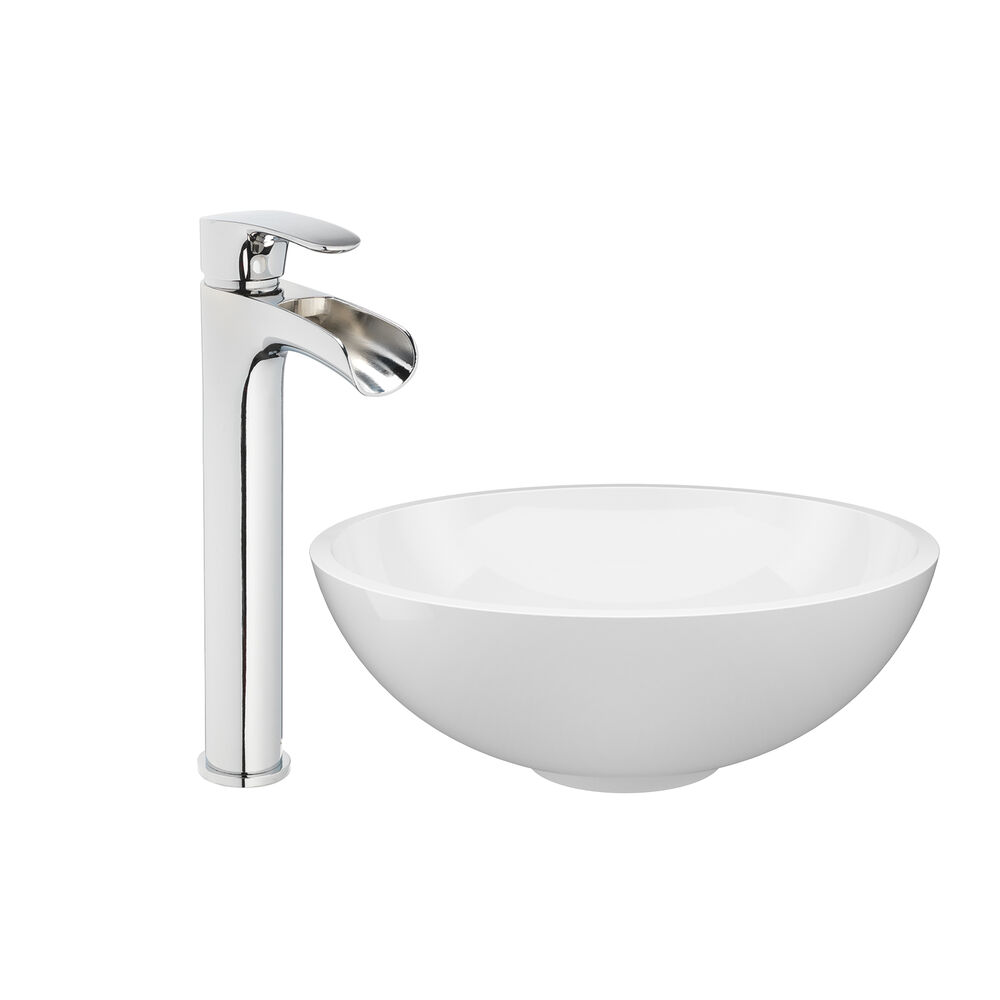 JACUZZI® Solid Surface Vessel Bowl Sink with Vessel Filler Faucet