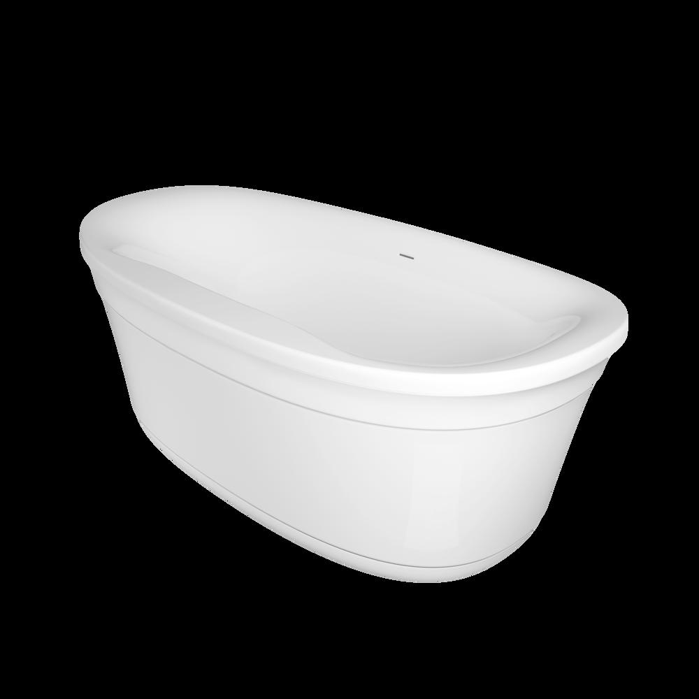 LUNA® 6735 Acrylic Freestanding Soaking Bath Center Drain White