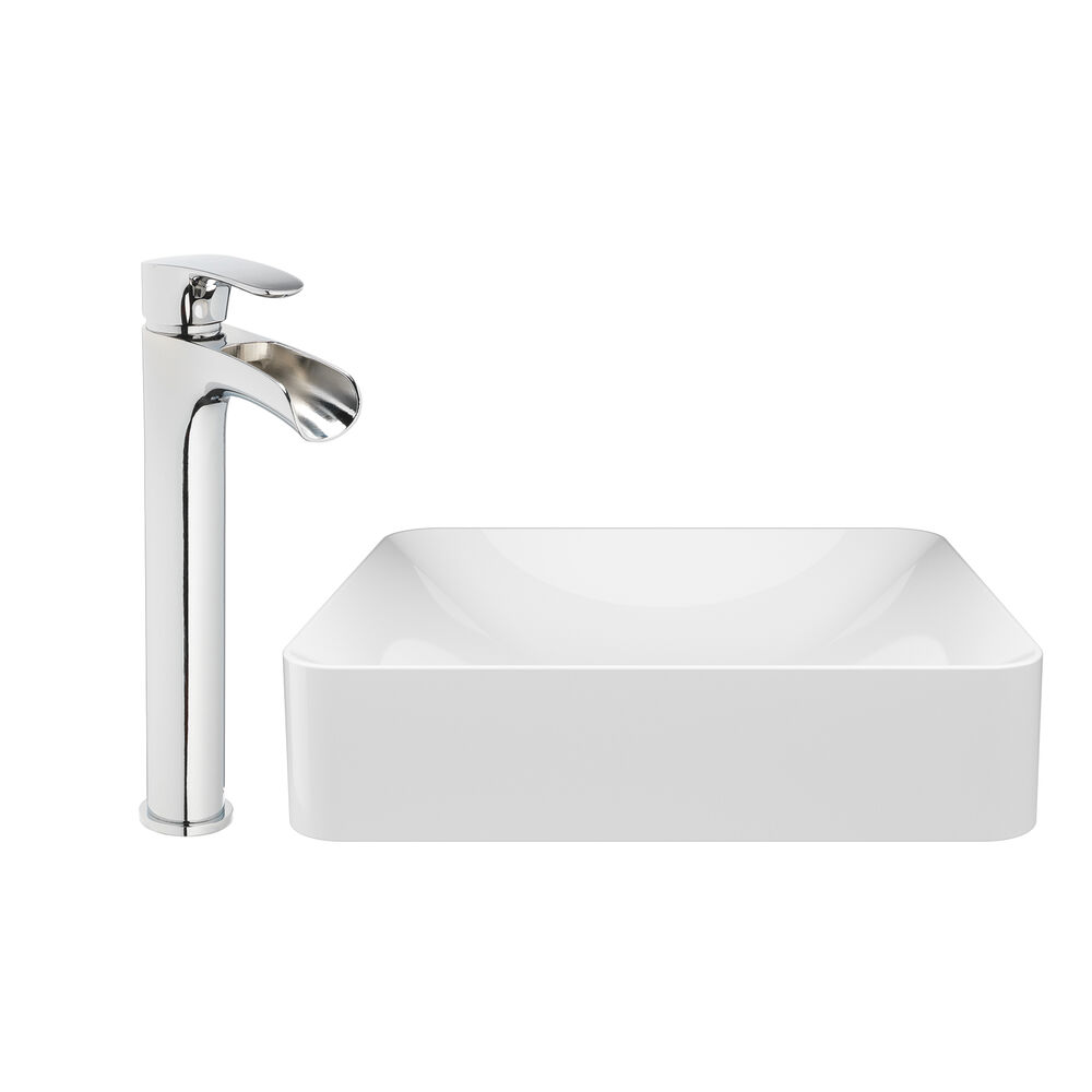 JACUZZI® 17 11/16 Solid Surface Vessel Bathroom Sink Rectangular Basin White Gloss with Vessel Filler Faucet and Pop Drain Included