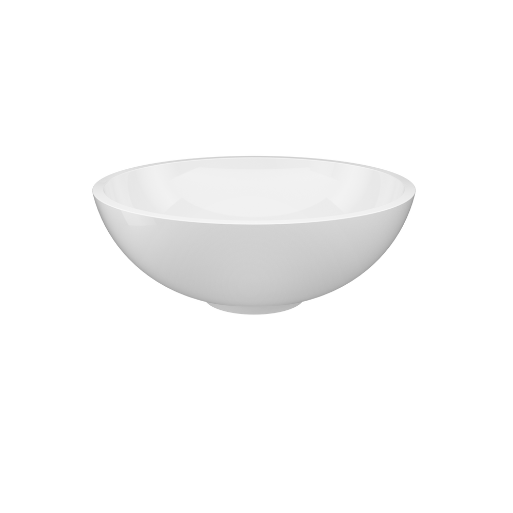 Jacuzzi® 15 13/16 Solid Surface Vessel Bathroom Sink Round Basin White Matte with Vessel Filler Faucet and Pop Drain Included