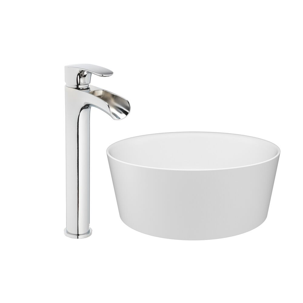 Jacuzzi® 15 13/16 Solid Surface Vessel Bathroom Sink Round Basin White Gloss with Vessel Filler Faucet and Pop Drain Included
