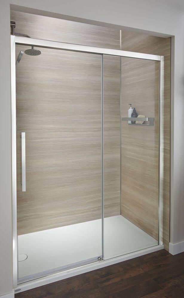 """Jacuzzi® Semi-Frameless Matte Black 48"""" Concealed Roller Shower Door"""